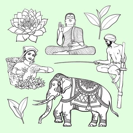 스리랑카 국가 기호 집합 - 수련, 부처님 동상, 코끼리, 차, 장다리 낚시, 만화 벡터 일러스트 레이 션 흰색 배경에 고립. 스리랑카 문화 기호로 그려진
