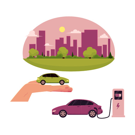 vector flat cartoon green city concept. Isolated illustration on a white background. city without plants and factories electric car at charging station, green vehicle in hand set Illusztráció