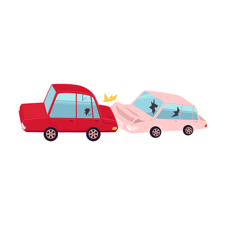 vector flat cartoon car crash, accident. Red vehicle crashed into pink one, both have dents, broken glasses, scratches. Isolated illustration on a white background.