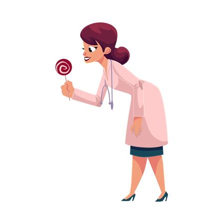 Jeune femme médecin, pédiatre au stéthoscope donnant, offrant sucette, illustration de vecteur de dessin animé isolé sur fond blanc. Dessin animé femme médecin, pédiatre donnant des bonbons sucette Banque d'images - 85614955