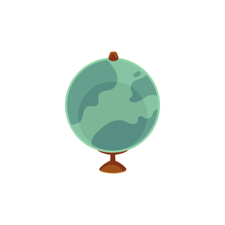 Vector cartoon flat globe illustration isolated on a white background. Flat earth planet with continents, oceans and clouds. Web icon design object. Back to school concept Ilustração