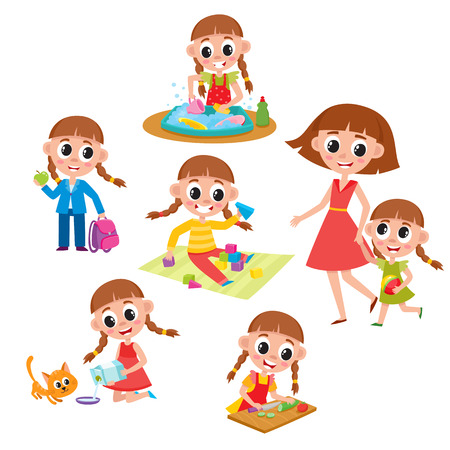 Daily routine set, little girl washing dishes, helping mother, feeding cat, going to school, cooking, playing, cartoon vector illustration isolated on white background. Daily routine set, little girl Ilustrace