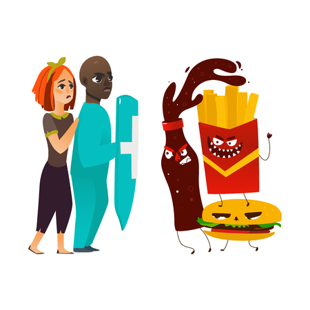 vector flat cartoon male doctor holding shield protecting woman from mental illness - obesity, fighting with angry fastfood. Isolated illustration on a white background Иллюстрация