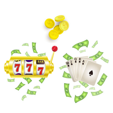 vector flat cartoon lucky triple seven Jackpot golden slot mashine, royal flush spades with dollar rain around, casino chips set. Isolated illustration on a white background. Sign of profit easy money
