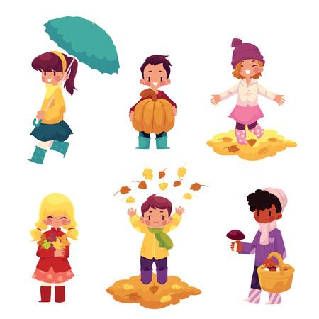 cartoon umbrella: Kids, children having fun in fall, autumn - throwing leaves, picking mushrooms, walking, cartoon vector illustration isolated on white background. Cartoon kids, boys and girls, enjoy autumn, fall