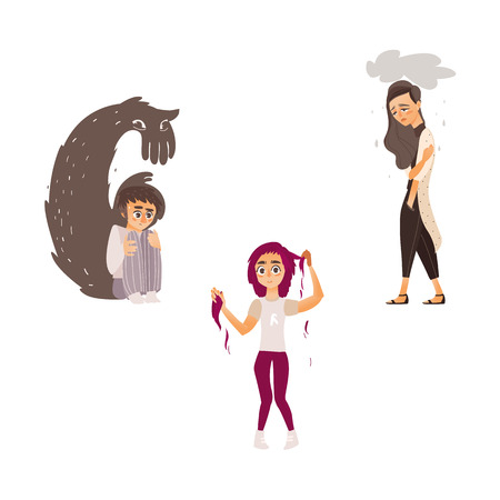 vector flat mental illness set. Man sitting holding knees with monster shadow behind in fear, unhappy woman feel rain above, girl with hair loss problem. Isolated illustration on a white background.