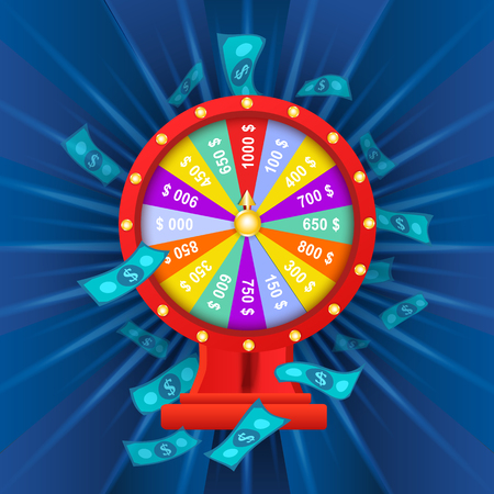vector flat cartoon lucky wheel of fortune with dollar rain around. Illustration on a blue background. Sign of profit, easy money. Casino, gambling games design poster