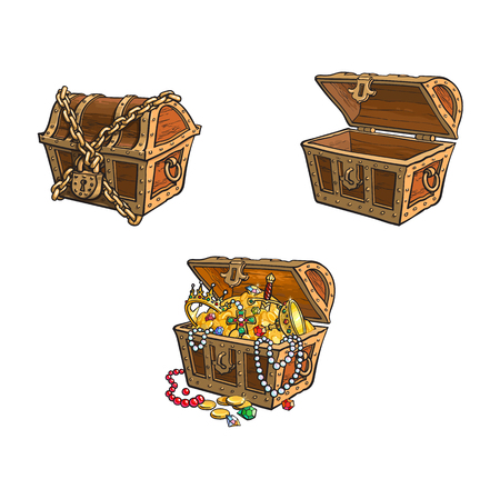 vector wooden treasure chest set. Isolated illustration on a white background. Opened, full of golden coins, closed and chained Flat cartoon symbol of adventure, pirates, risk profit and wealth. Ilustração