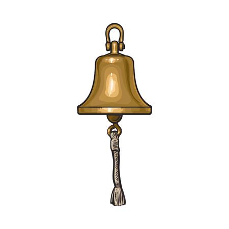 アンティークの真鍮、銅船鐘ロープで、白い背景で隔離のベクトル図を漫画します。光沢のあるアンティーク真鍮製船の鐘の漫画手描きイラスト