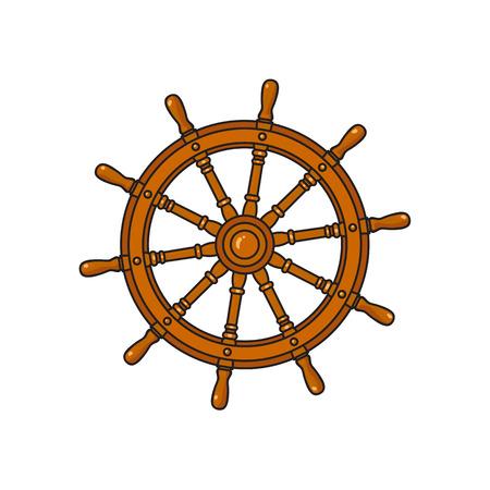 Ship, sailboat steering wheel, cartoon vector illustration isolated on white background. Cartoon vector illustration of traditional wooden ship, sailboat steering wheel Illustration