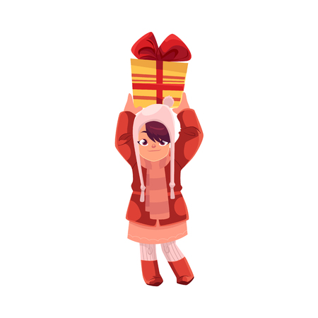 vector cartoon girl keeping present box in hands with smile on his face. Flat illustration on a white background. Christmas, new year birthday gift concept