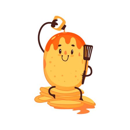 面白いパンケーキ ストロベリー ソース、朝食文字、漫画自体を注ぐベクトル、白い背景で隔離の図です。人間の顔と面白い笑顔パンケーキ文字