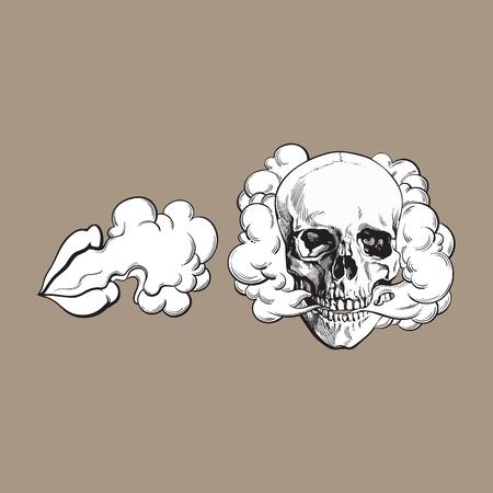 두개골과 여성 입술에서 나오는 연기, 색 배경에 고립 된 벡터 일러스트 레이 션을 스케치합니다. 손으로 그린 된 흡연 두개골과 여자 입술 연기 구름 일러스트