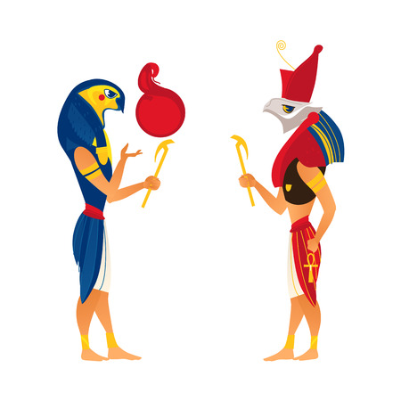 Horus and Ra, gods of ancient Egypt religion, flat cartoon vector illustration isolated on white background. Ancien Egypt gods Horus and Ra, flat side view full length portrait Illustration