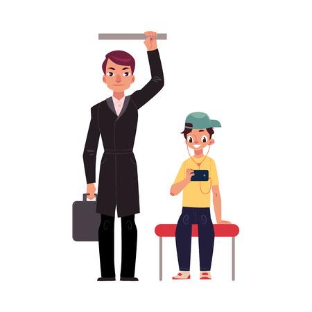 Businessman holding briefcase in subway, standing and holding handrail, young boy sits staring at phone, studen cartoon vector illustration isolated on white background.