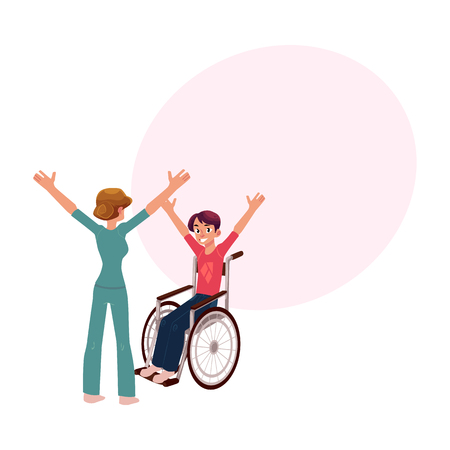 Medical rehabilitation, therapist doing remedial gymnastics with young man in wheelchair, cartoon vector illustration with space for text. Medical rehabilitation, physical therapy, remedial gymnastics Illustration
