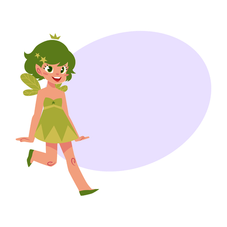 elf queen: Vector fairy girl illustration on white background. Cute cartoon smiling child with butterfly wings wearing queen crown with bubble speech. Magic, flying kid holding magic star wand.