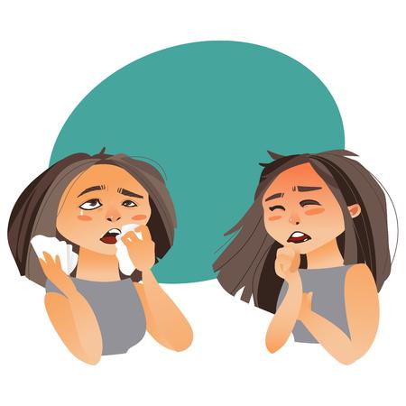 Vrouw die griepsymptomen - hoest en lopende neus, beeldverhaal vectordieillustratie hebben op witte achtergrond met toespraakbel wordt geïsoleerd Stock Illustratie