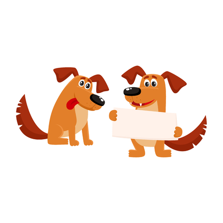 Two funny cute dog characters, one sitting, another holding blank board, poster, cartoon vector illustration isolated on white background. Couple of funny dog characters sitting, holding board Illustration