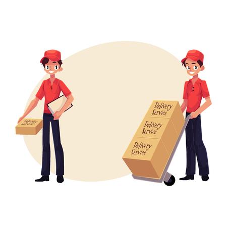 Koerier, levering service werknemer pakket, duwen dolly, handkar met vakken, cartoon vectorillustratie met ruimte voor tekst. Volledig lengteportret van de jonge mens van de leveringsdienst