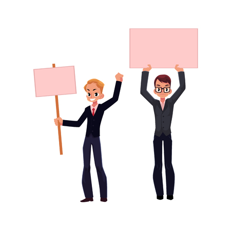 communication cartoon: Vector office worker with empty blank pink banner set isolated illustration on a white background. Business emplyee character in glasses holds pink paper in hands. Business promotion template design Illustration