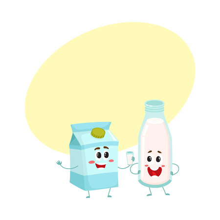 Funny milk characters, bottle and carton box, with smiling human faces, cartoon vector illustration with space for text. Cute, funny bottle and carton box of milk characters, dairy products