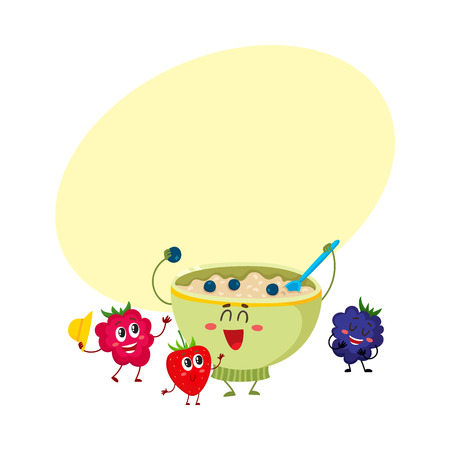 Funny smiling bowl of oatmeal porridge and raspberry, blackberry berry characters, cartoon vector illustration with space for text. Cute and funny oatmeal porridge bowl and berry characters Vettoriali