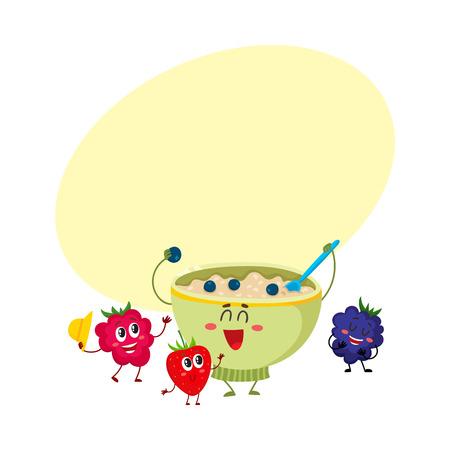Grappige lachende kom havermoutpap en framboos, blackberry berry tekens, cartoon vectorillustratie met ruimte voor tekst. Leuke en grappige havermoutpap kom en bessen tekens