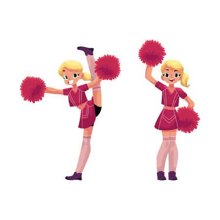 ベクトル漫画笑顔チアリーダー ブロンド女の子キャラを上げるポンポンで踊る、分割設定を行う別の女の子を手します。図オナ ホワイト バック グ  イラスト・ベクター素材