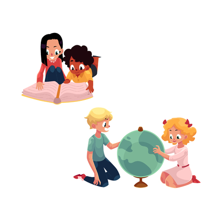 Kids, children studying a globe, reading a book together, cartoon vector illustration isolated on white background. Kids, children, boys and girls, learning - playing with globe, reading