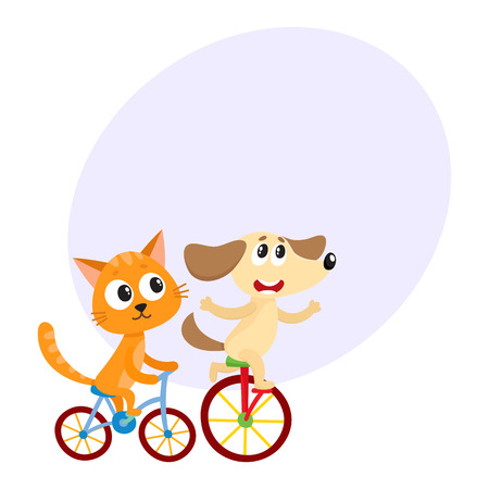 Cute little dog and cat, kitten characters riding bicycles together, cartoon vector illustration with space for text. Baby dog and cat, kitten animal characters riding bicycles, cycling Illustration