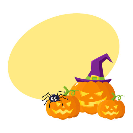 Three Hallowing jack o lanterns, pumpkins, big and small, in pointed witch hat, cartoon vector illustration with space for text. Three Halloween pumpkin, jack o lantern in pointed wizard hat