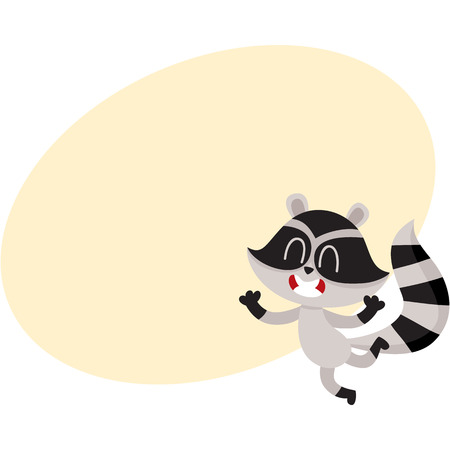Cute little raccoon character jumping from happiness and delight, cartoon vector illustration with space for text. Happy and excited little raccoon jumping with pleasure and delight Illustration