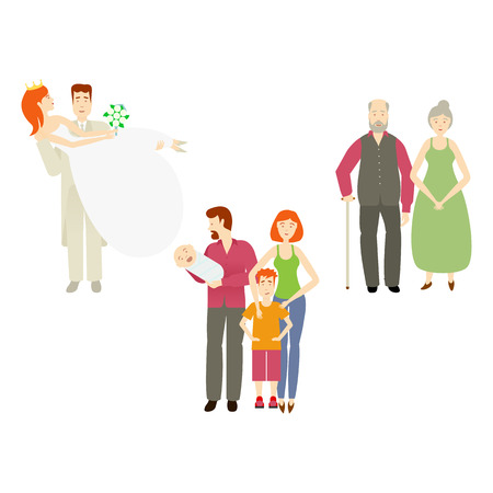 vector flat couples characters setset. Isolated illustration ona white background. Newlywed couple groom holds bride in hands, grey-haired couple and adult couple with baby infant and boy kid. Stock Vector - 85615038