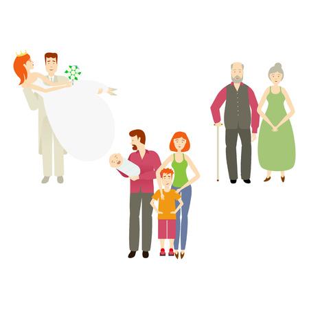 Vektor flache Paare Zeichen setset. Lokalisierter Illustration ona weißer Hintergrund. Jungvermähltenpaarbräutigam hält Braut in den Händen, in den grauhaarigen Paaren und in den erwachsenen Paaren mit Babykinder- und -jungenkind. Standard-Bild - 85615038