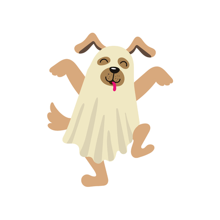 vector flat cartoon funny dog puppy dressed up in bedsheet like ghost dances sticking out his tongue . Isolated illustration on a white background. Fancy Halloween outfit for an animal concept Illustration