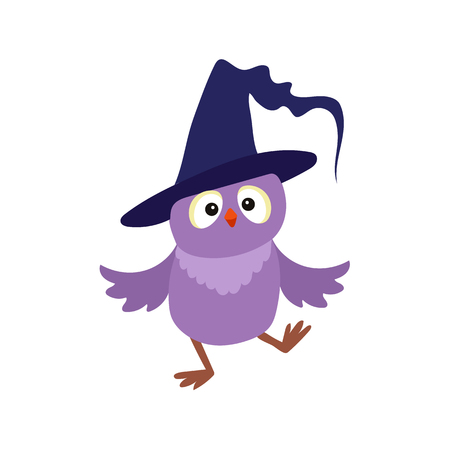 vector flat cartoon funny purple owl dancing in big blue witch, wizard pointed hat. Isolated illustration on a white background. Fancy Halloween outfit for an animal concept