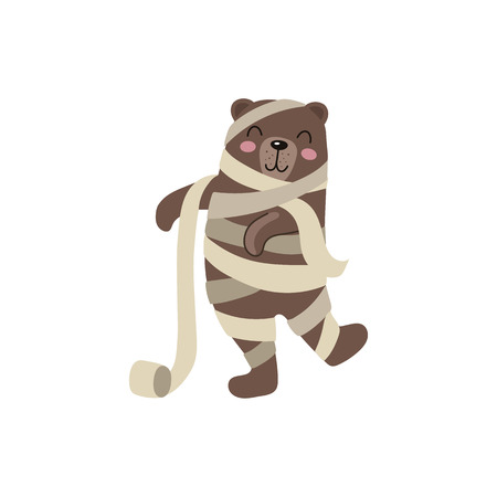 vector flat cartoon funny bear wrapped in toilet paper like mummy. Isolated illustration on a white background. Fancy Halloween outfit for an animal concept
