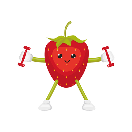 vector flat cartoon funny strawberry character doing fitness. Cheerful humanized fruit makes exercises with dumbbells . Isolated illustration on a white background. Healthy, sportive lifestyle concept