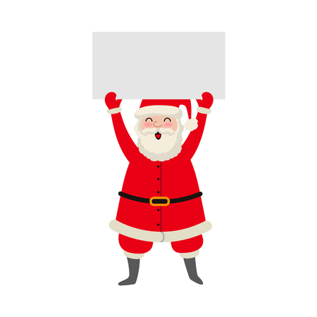 vector flat cartoon Santa Claus in red white christmas clothing and hat keeping blank white paper with free space for a text in outstretched hands. Illustration isolated on a white background.