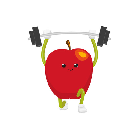 vector flat cartoon funny apple character lifting weight. Cheerful humanized fruit makes exercises with barbell. Isolated illustration on a white background. Healthy, sportive lifestyle concept