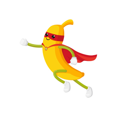 vector flat cartoon banana character in red cape, mask dashing. Isolated illustration on a white background. Funny stylized humanized fruit and vegetable super hero protecting peoples health concept.