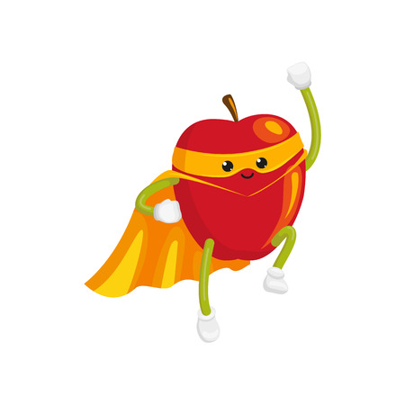 vector flat cartoon apple character in orange cape, mask flying like superman. Isolated illustration on a white background Stylized humanized fruit and vegetable super hero protecting peoples health Illustration