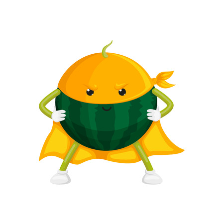 vector cartoon watermelon character in yellow cape, mask standing with hands on belt. Isolated illustration on a white background. Stylized fruit and vegetable super hero protecting peoples health Ilustração