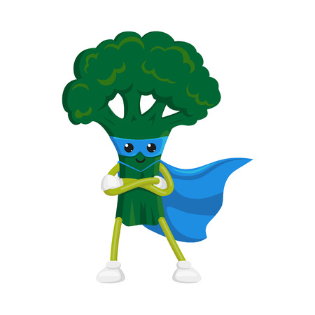 vector flat cartoon broccoli character in blue cape, mask standing with hands crossed on chest. Isolated illustration on a white background. Funny fruit, vegetable super hero protecting people health Illustration
