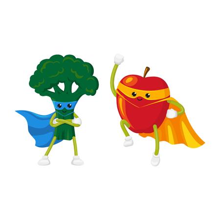 Vector de la fruta plana de dibujos animados, carácter vegetal en el cabo, conjunto de máscara. Brócoli de pie con las manos cruzadas en el pecho, la manzana volando como superhombre. Ilustración aislada sobre un fondo blanco. Foto de archivo - 85615276