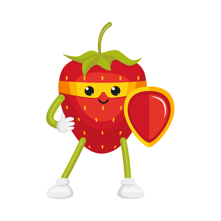 vector flat cartoon strawberry character in yellow mask standing with red shield. Isolated illustration on a white background. Funny humanized fruit and vegetable super hero protecting peoples health Ilustracja