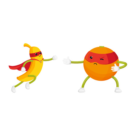vector flat orange, banana characters in masks standing like ninja, dashing like superman set. Isolated illustration on a white background. Funny fruit and vegetable hero protecting peoples health Illusztráció