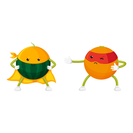 vector flat orange, watermelo characters in masks standing like ninja, dashing like superman set. Isolated illustration on a white background. Funny fruit and vegetable hero protecting peoples health