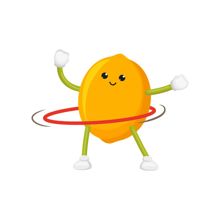 vector flat cartoon funny lemon character sportsman. Cheerful humanized fruit makes exercises with hula hoop smiling. Isolated illustration on a white background. Healthy, sportive lifestyle concept